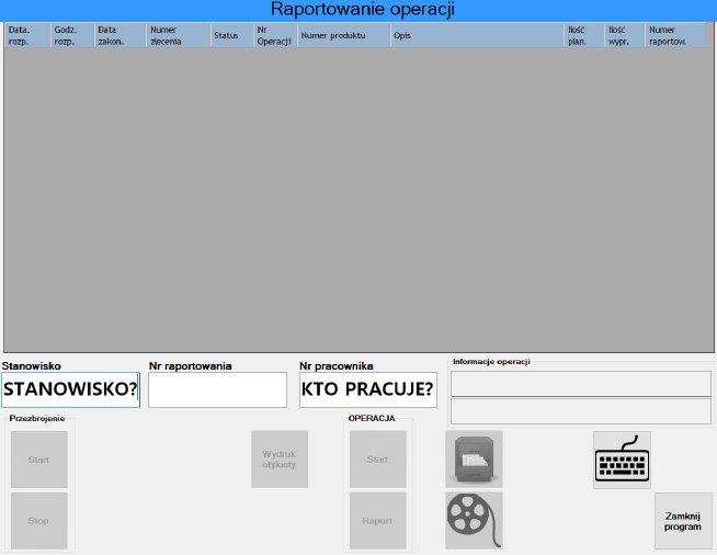 Diagram 1. Panel Produkcyjny po zalogowaniu